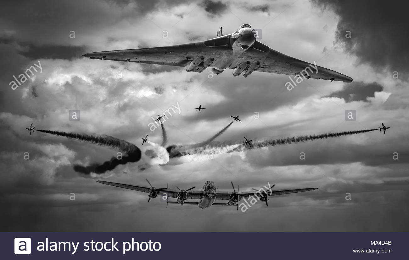 Avro Vulcan, Avro Lancaster flying with the RAF Red Arrows - Stock Image