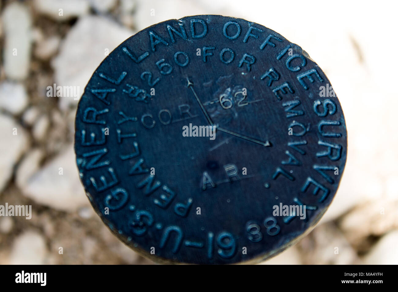 USGS Marker at Alcova Reservoir - Stock Image