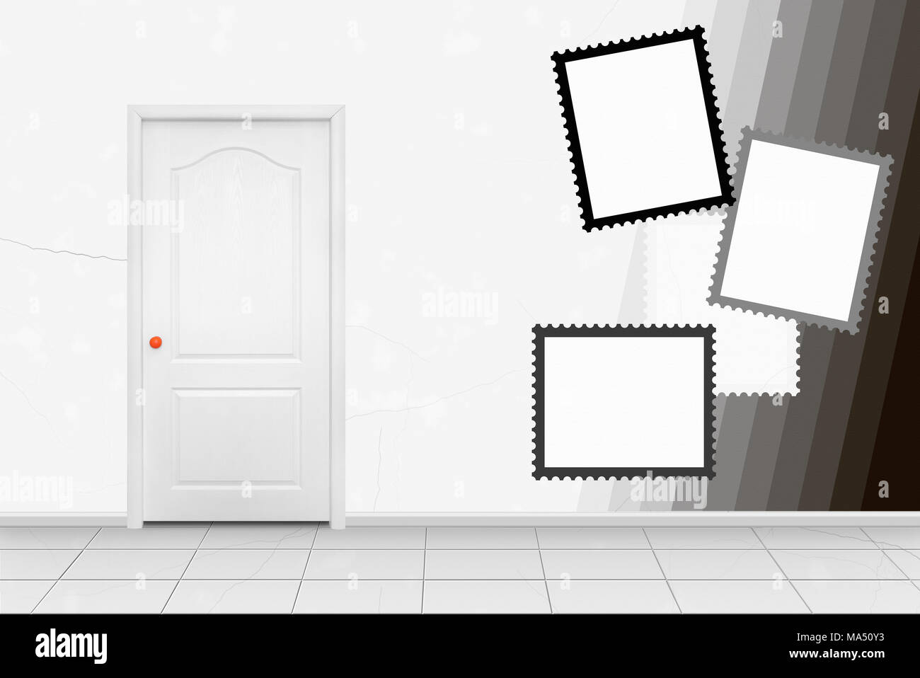 Home Interior White Inside Door In The Orange Handle In Front Of Frames Of Postage Stamps Wall Background Stock Photo Alamy