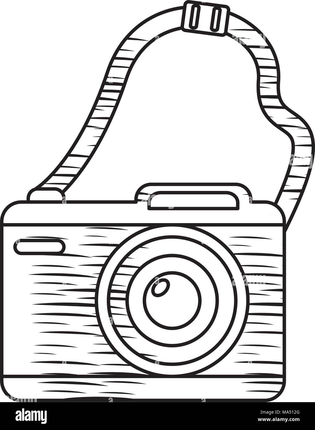 Sketch Of Photographic Camera With Strap Over White Background Vector Illustration