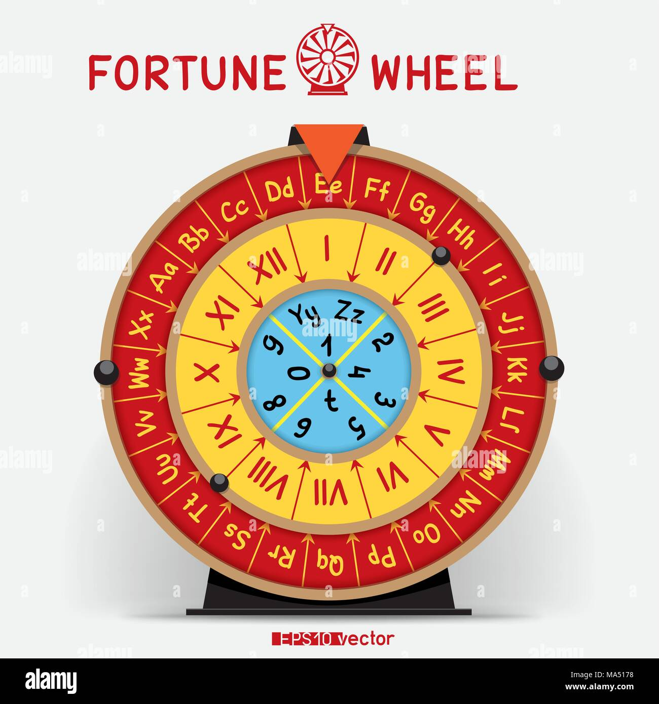 wheel of fortune template with letters roman numerals and shadow on