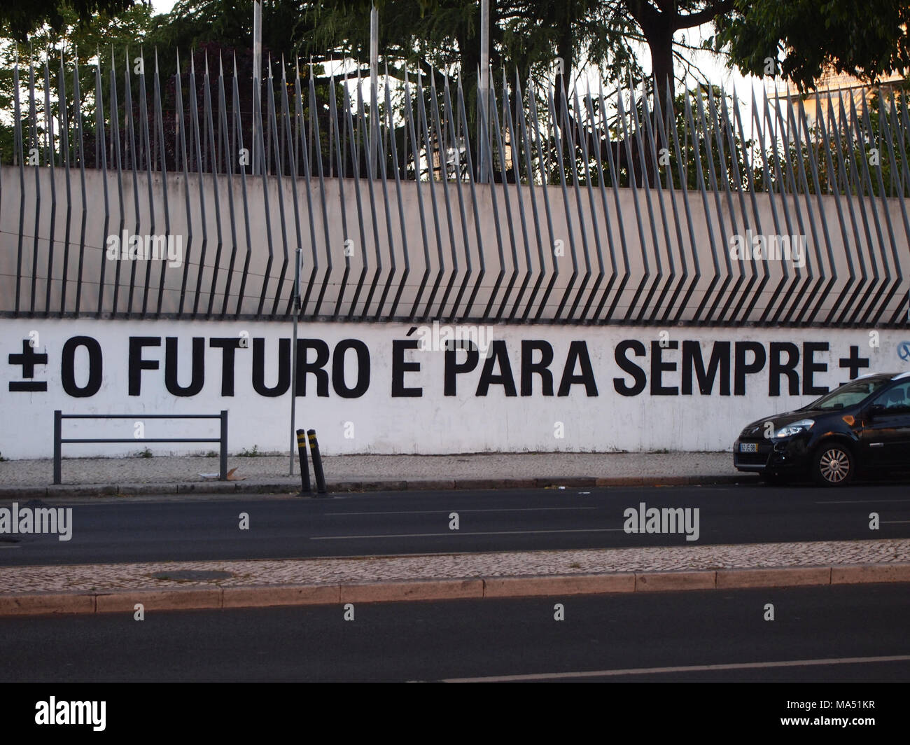 Thriving urban graffiti and street art scene in Lisbon - Stock Image