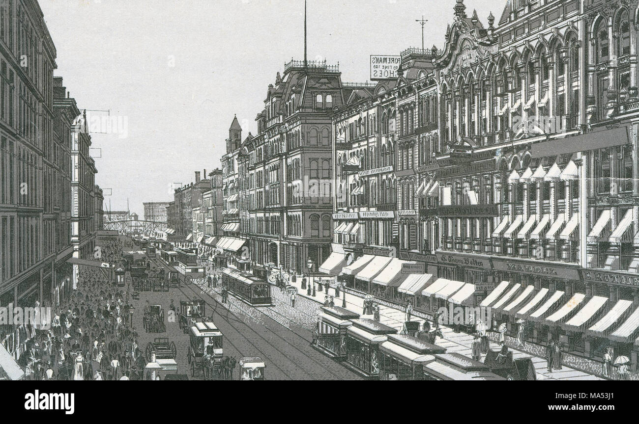 Antique c1885 monochromatic print from a souvenir album, showing North State Street from Madison Street in Chicago, Illinois. Printed with the Glaser/Frey lithographic process, a multi-stone lithographic process developed in Germany. - Stock Image