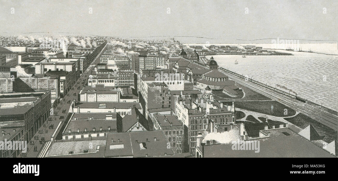 Antique c1885 monochromatic print from a souvenir album, showing a bird's eye view of Chicago, Illinois on Monroe Harbor. Lake Michigan at right; the large street is Michigan Avenue; the railroad is the Illinois Central and Michigan Central Railroad; the large domed building at right is the Interstate Industrial Exposition Building. Breakwater and New East Side visible in background at right. Printed with the Glaser/Frey lithographic process, a multi-stone lithographic process developed in Germany. - Stock Image