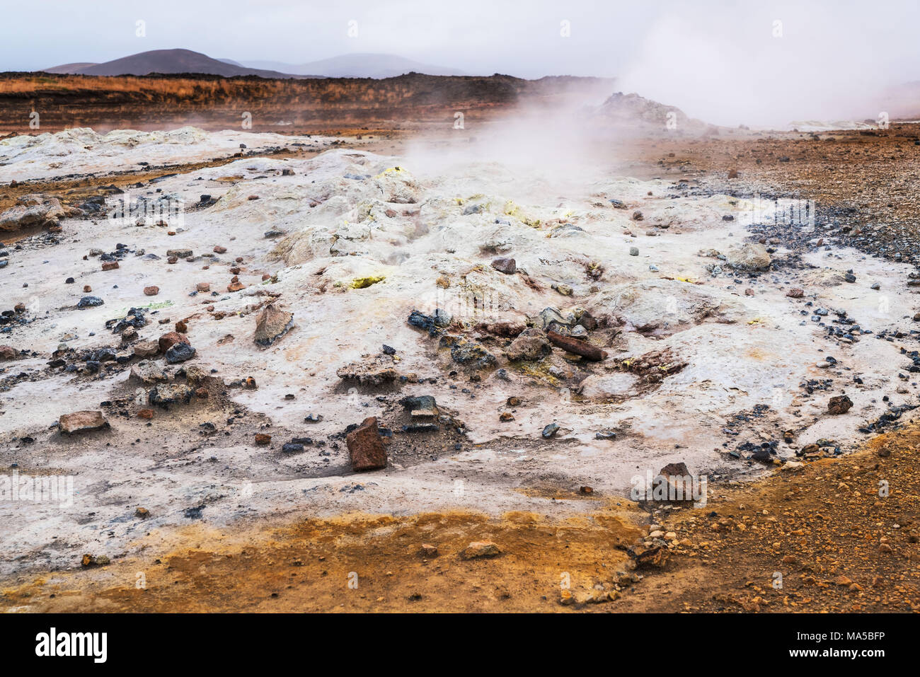 solfatara field, close Mývatn (lake), East Iceland - Stock Image