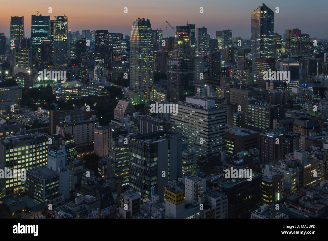 Asia, Japan, Nihon, Nippon, Tokyo, city overview, Hamamatsucho stadium, view from Tokyo World Trade Center - Stock Image