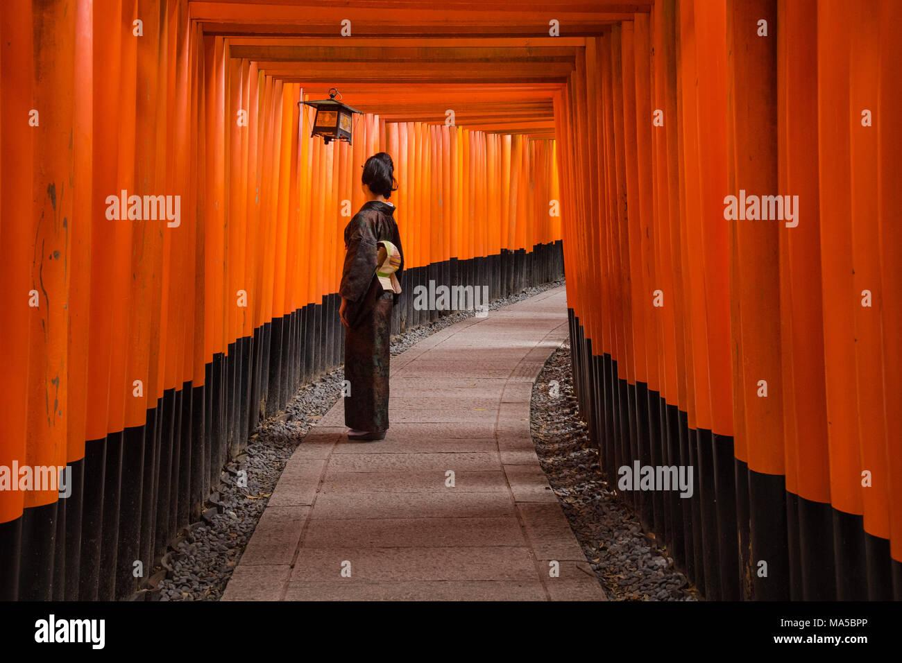 Asia, Japan, Nihon, Nippon, Kyoto, Senbon Torii Fushimi Inari Taisha Shrine - Stock Image