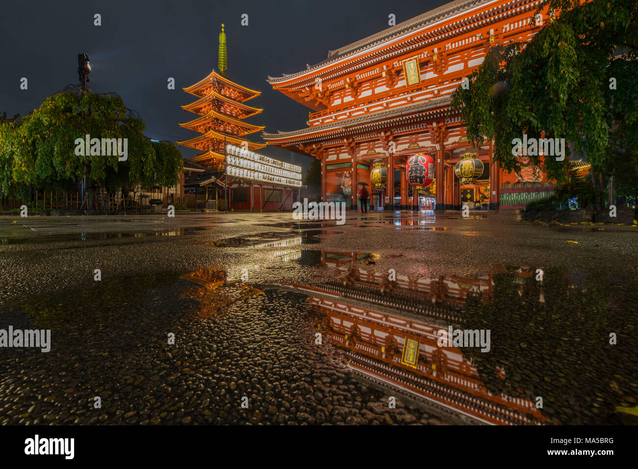 Asia, Japan, Nihon, Nippon, Tokyo, Taito, Asakusa, Sens?-ji temple complex with pagoda - Stock Image