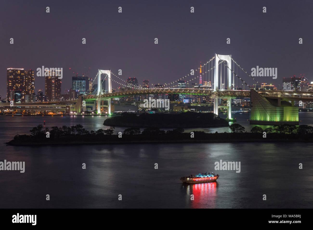 Asia, Japan, Nihon, Nippon, Tokyo, Shibura Kai, Odaiba, Minato, Rainbow Bridge at night Stock Photo