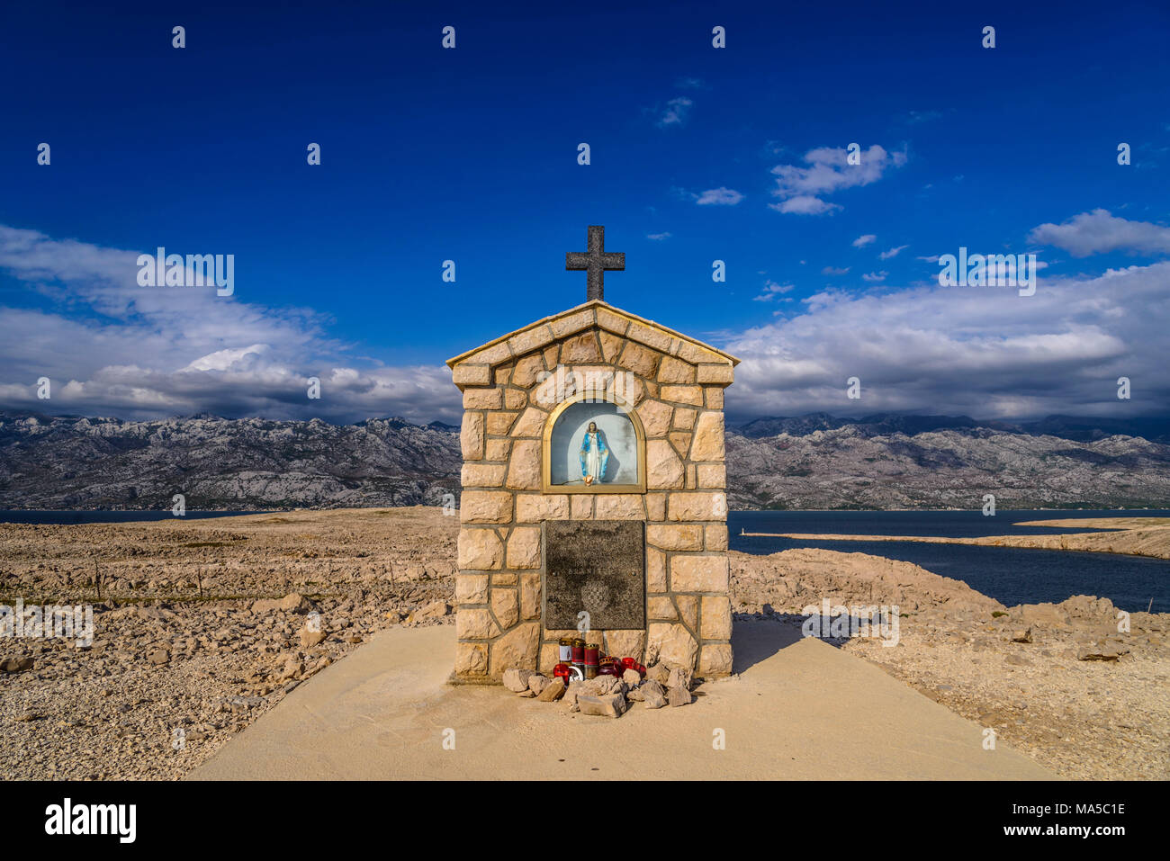 Croatia, Dalmatia, island of Pag, Miskovici, altar of Mary at the southern tip towards Velebit mountains Stock Photo