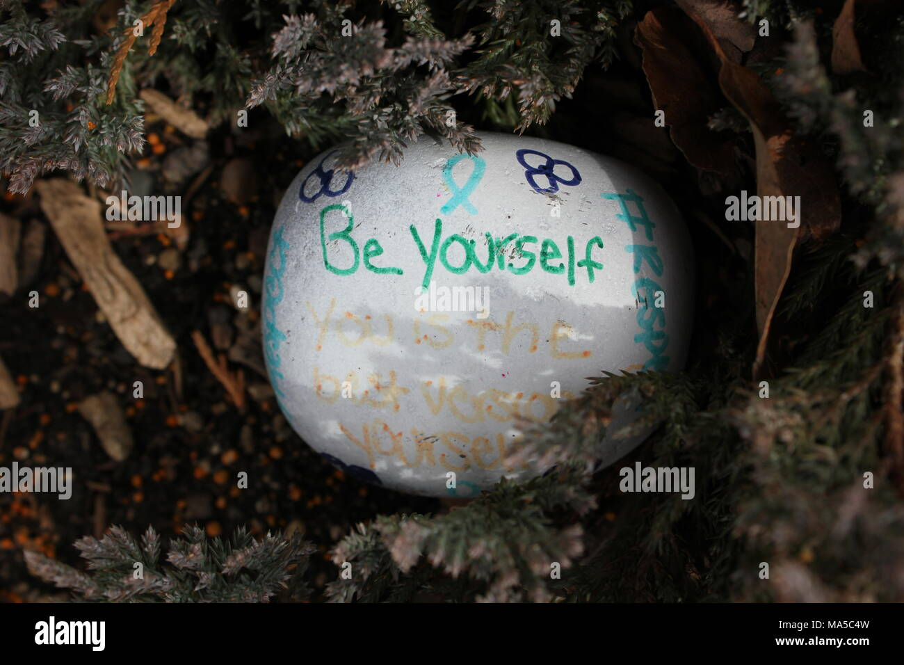 Local street art rock decorated with inspirational sayings 'Be youself' and #respect' and 'You is the best version of yourself.' - Stock Image