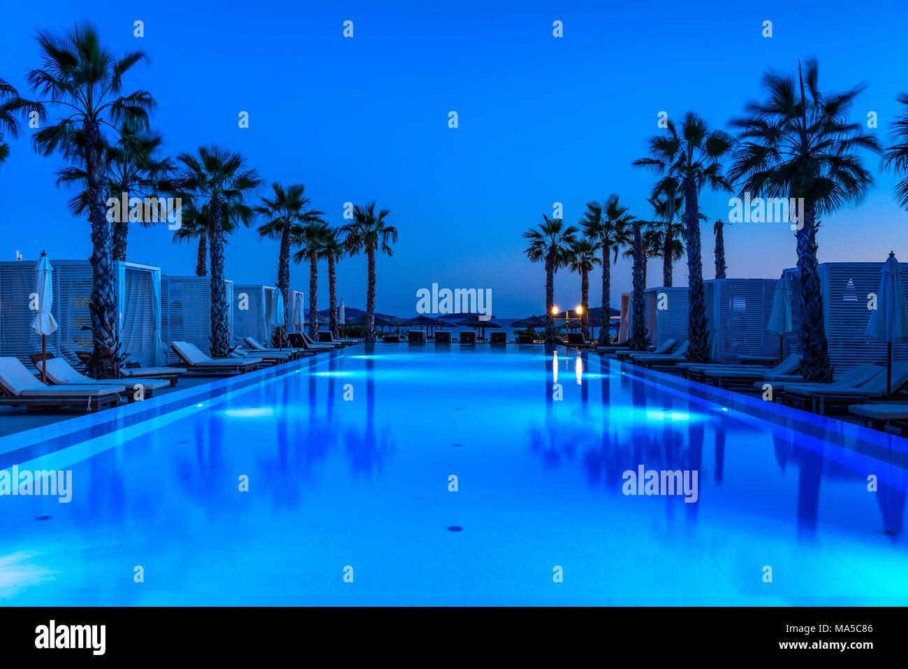 Croatia, Dalmatia, Sibenik, Solaris Beach Resort, Lifestyle Hotel Jure, Pool - Stock Image
