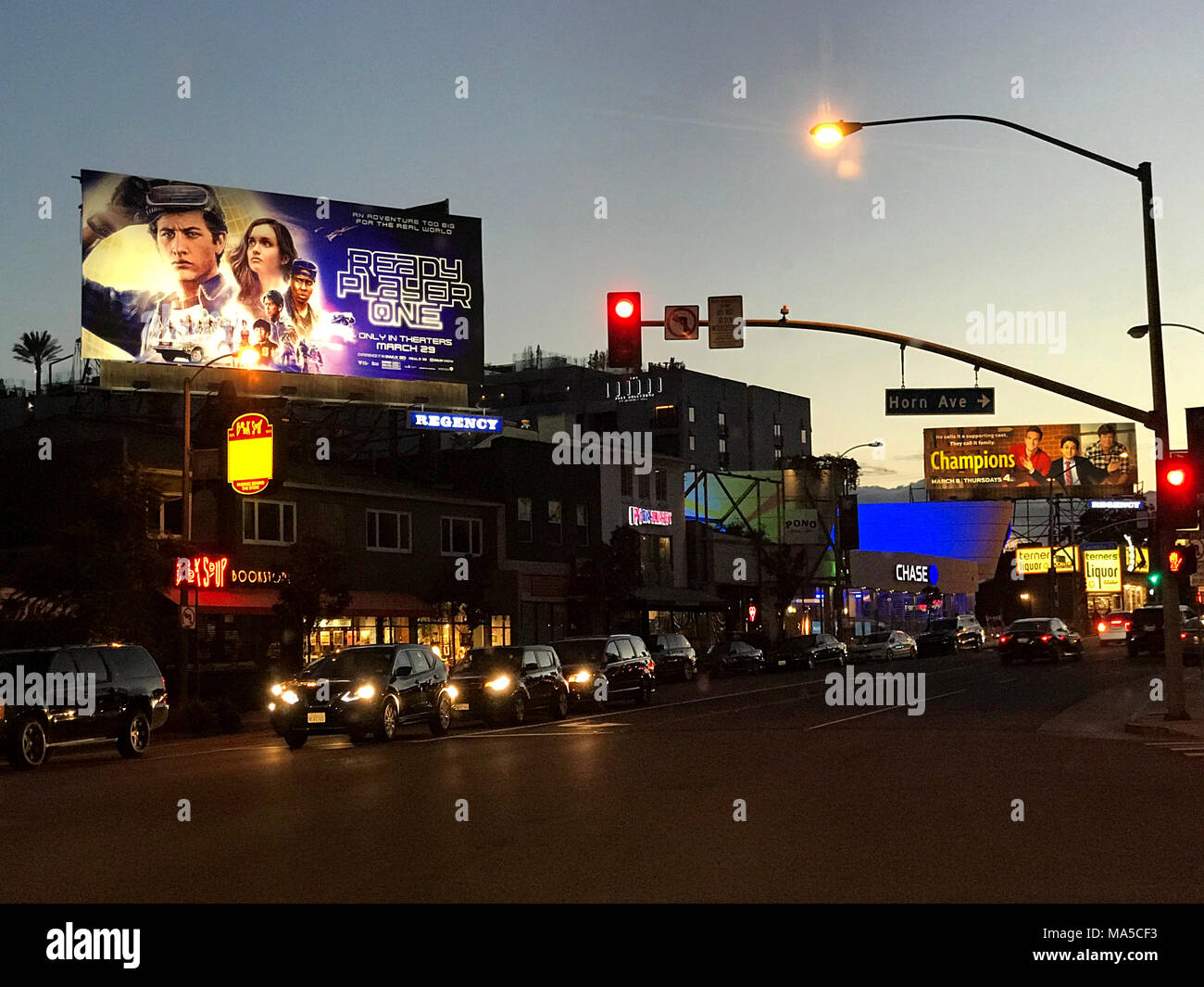 Billboard for the Steven Spielberg movie Ready Player One on the Sunset Strip in Los Angeles, CA - Stock Image