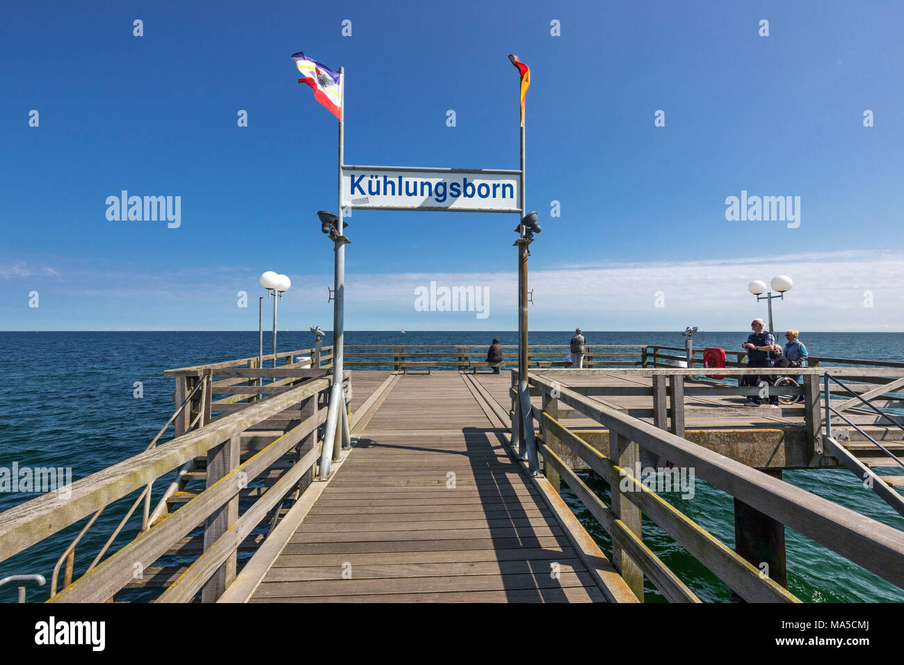 On the pier, welcome sign, Seebad Kühlungsborn-Ost, district of Rostock, - Stock Image