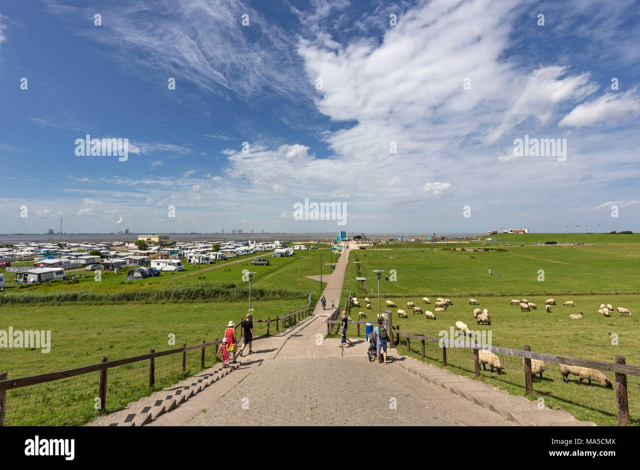 View from the dyke transition to Friesenstrand, Tossens, district of the Butjadingen municipality, administrativ district Wesermarsch, - Stock Image