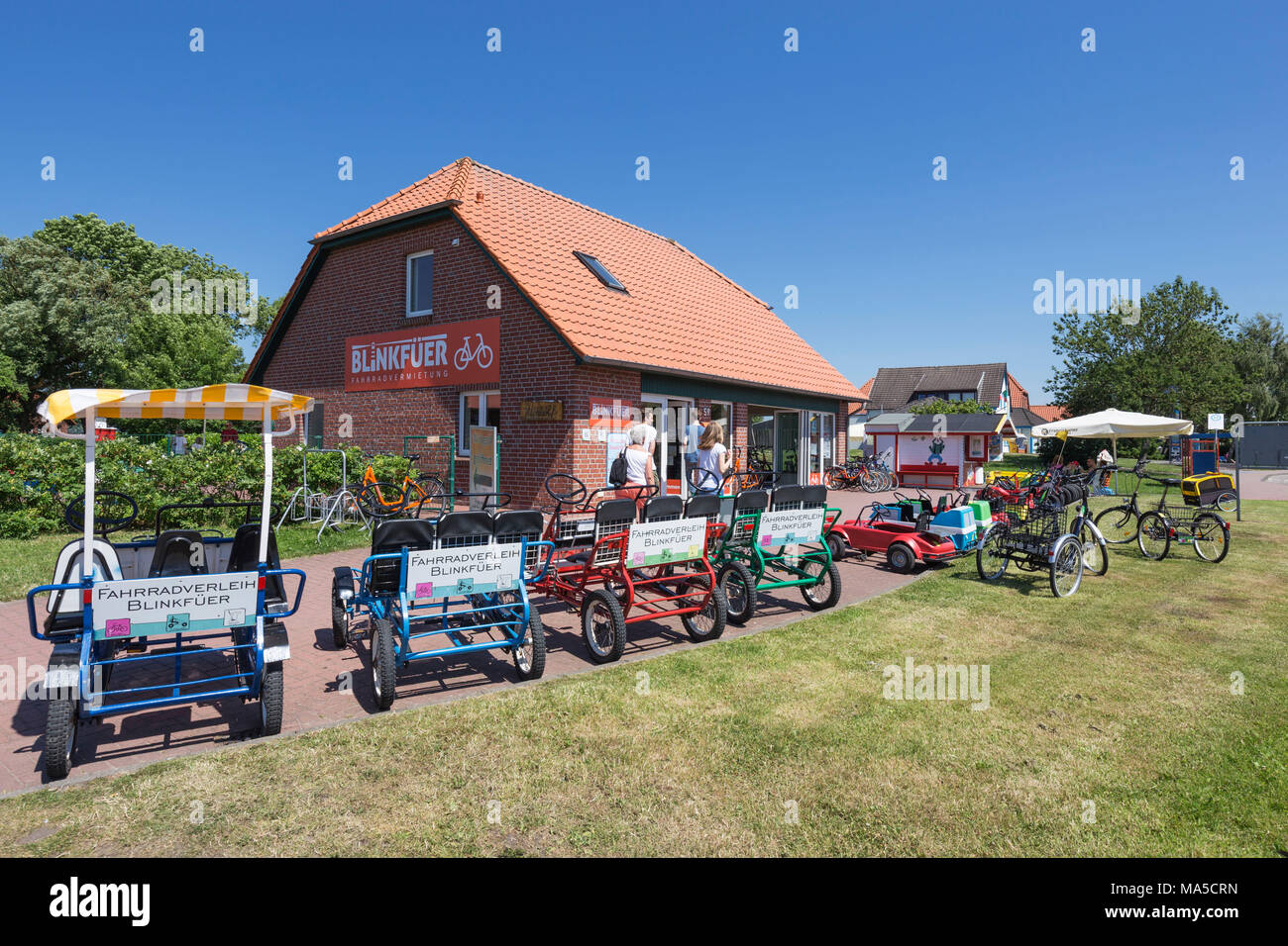 Bike rental Blinkfüer, Buddy Bike, Burhave, Butjadingen, municipality in the administrative district of Wesermarsch, - Stock Image