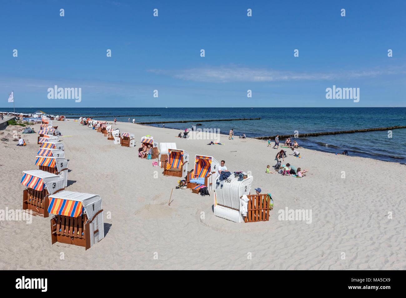 Baltic Sea beach, close the pier, Seebad Kühlungsborn-Ost, district of Rostock, - Stock Image