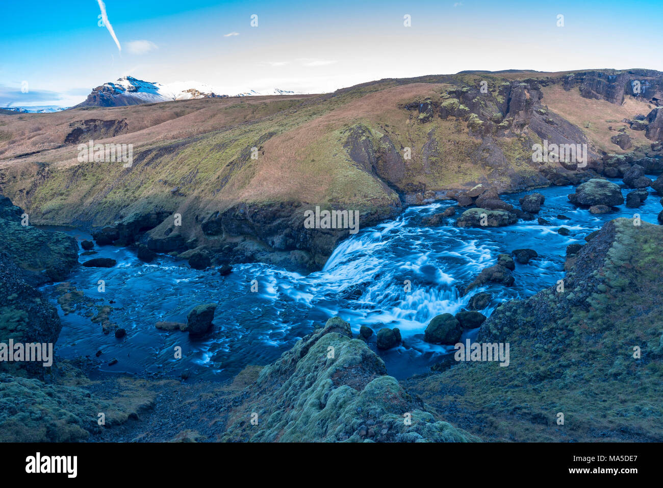 Europe, Northern Europe, Iceland, Skógar, view to the Fimmvörduhals hiking trail in the Icelandic highlands - Stock Image