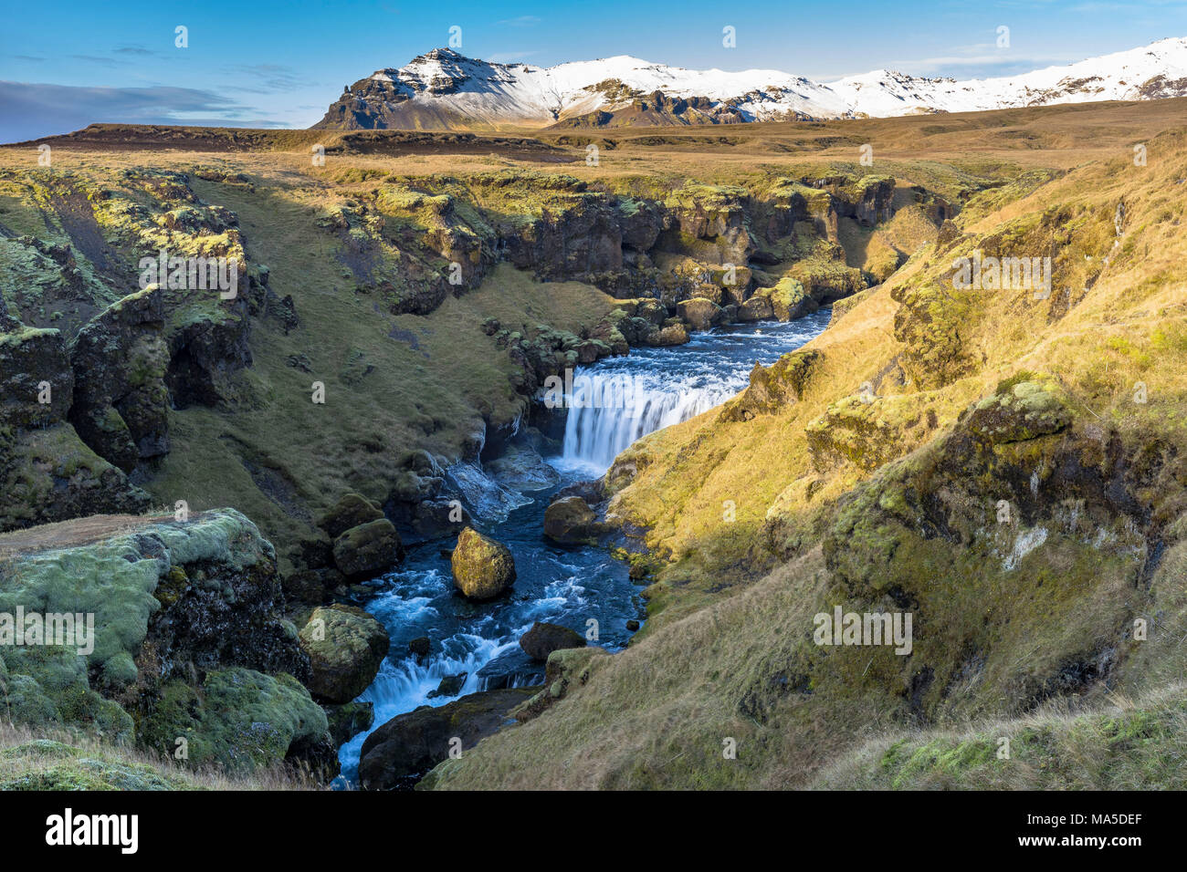 Europe, Northern Europe, Iceland, Skógar, Highlands, view to the impressive landscape on the Fimmvörduhals trail - Stock Image