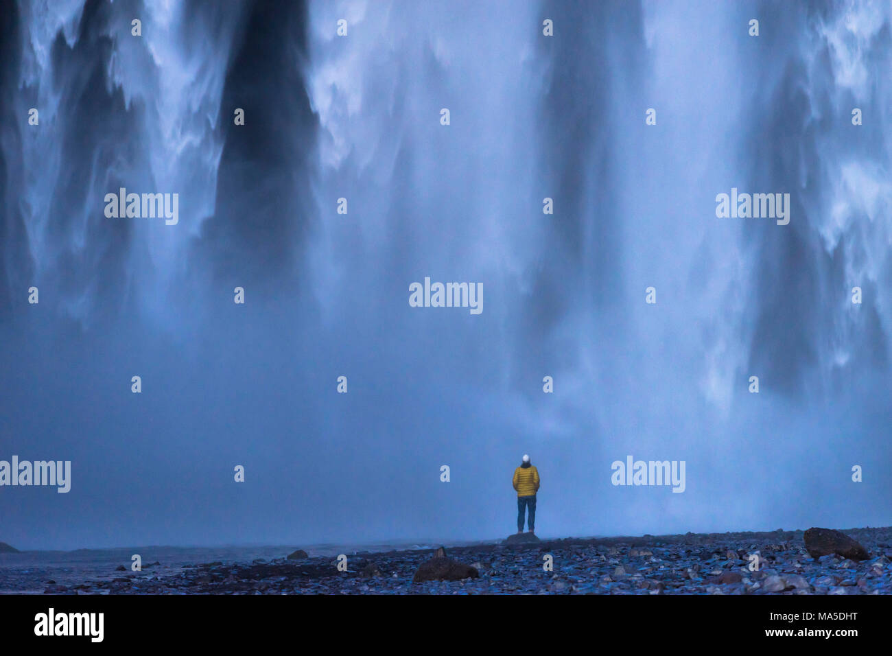 Europe, Northern Europe, Iceland, Skógar, person enjoys the sensational spectacle of the water masses at Skógafoss - Stock Image