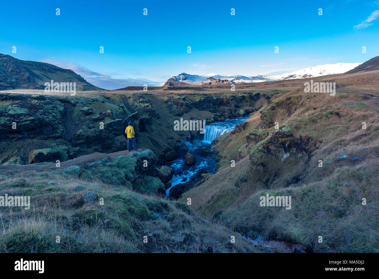 Europe, Northern Europe, Iceland, Skógar, view to the impressive landscape on the Fimmvörduhals trail - Stock Image
