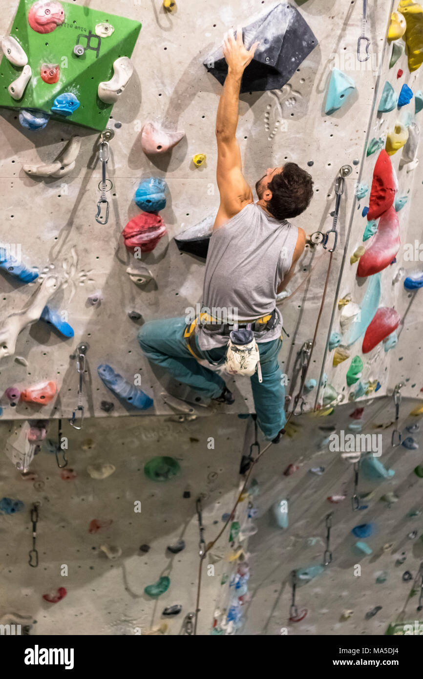 Germany, Baden-Württemberg, Stuttgart, climbing gym, female climber climbing the climbing wall - Stock Image
