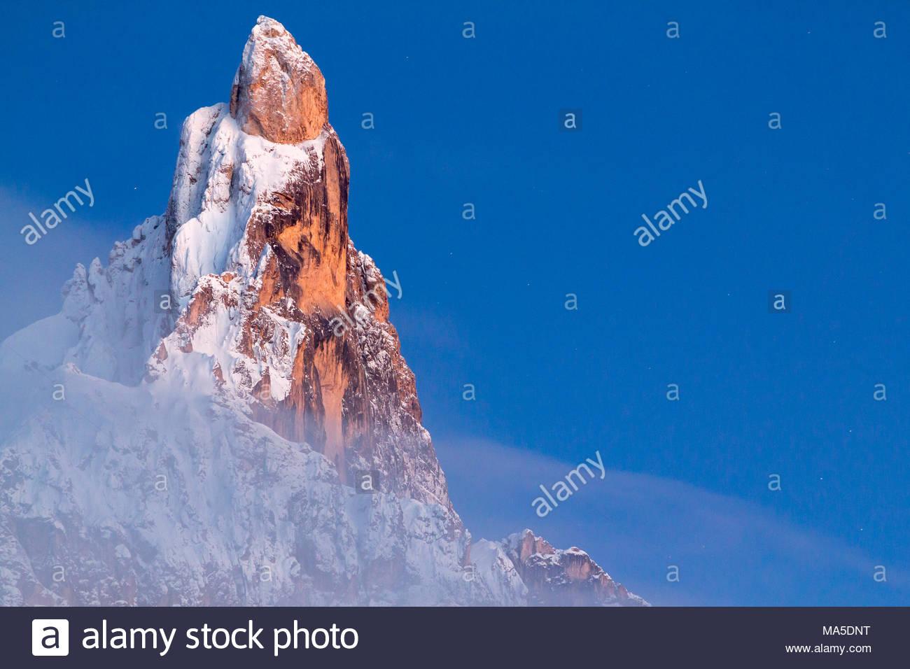 Cimon della Pala peak, mountain group Pale di San Martino, Passo Rolle, Trentino, Dolomites, Italy Stock Photo