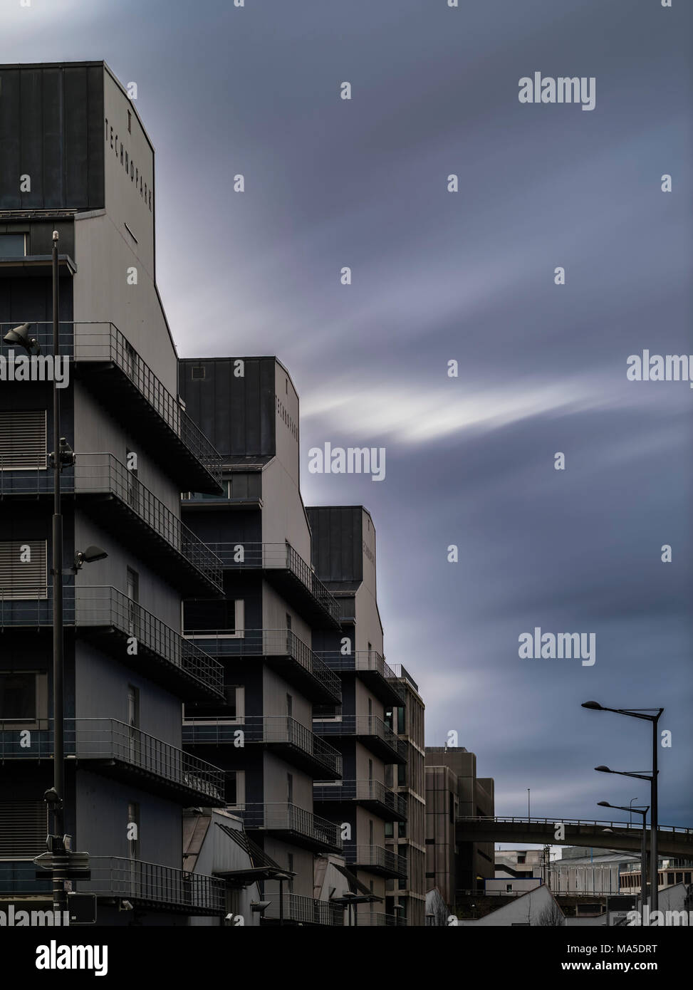 Technopark in Zurich West with dramatic cloud atmosphere - Stock Image