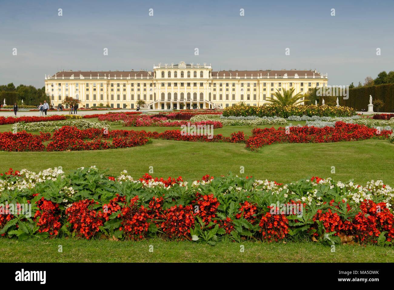Schönbrunn Palace with palace grounds, Vienna, Austria - Stock Image