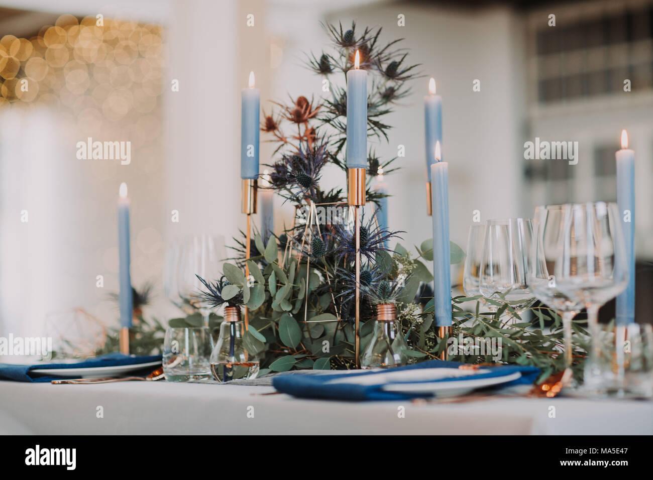 Wedding, laid table, detail, blur, - Stock Image