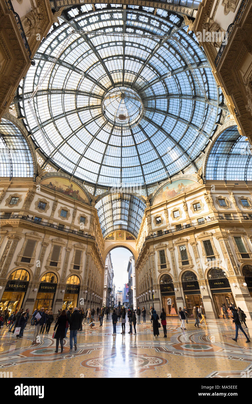 a view of the Rinascente, the famous Gallery with its wonderful architecture, near the Milan Cathedral, Milan province, Lombardy, Italy - Stock Image