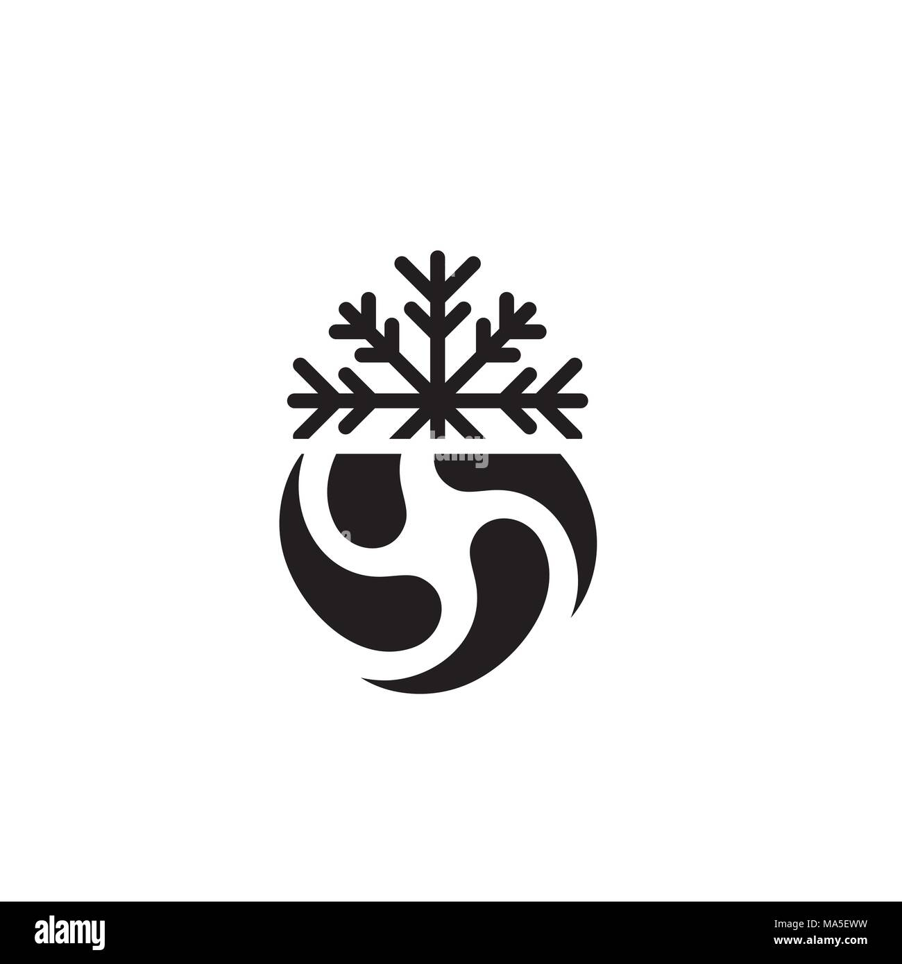 Bomb Cyclone icon w cyclone, tornado, and noreaster snowflake - Stock Vector