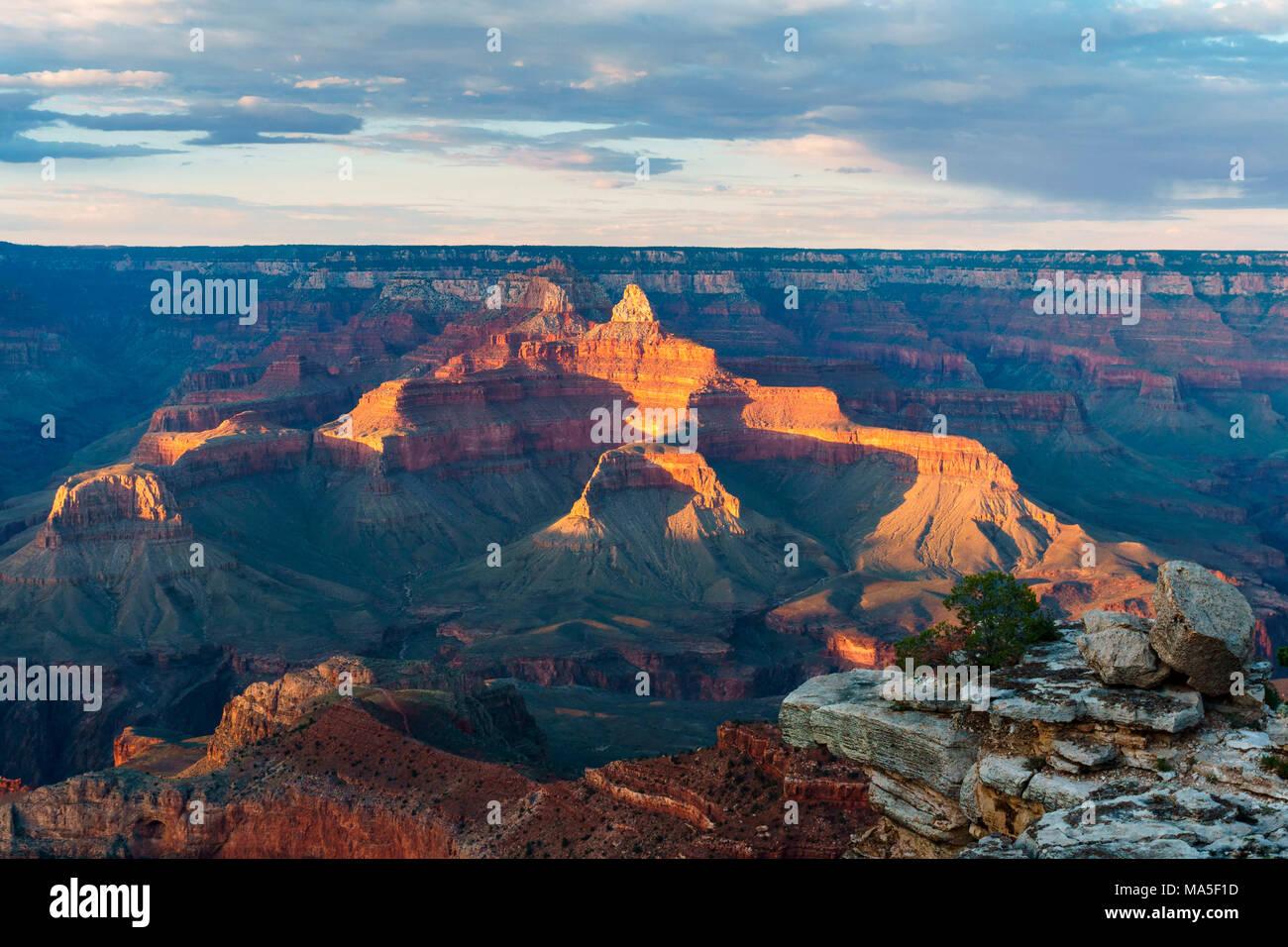 Sunset at Mother Point, Grand Canyon National Park, Tusayan, Arizona, USA Stock Photo