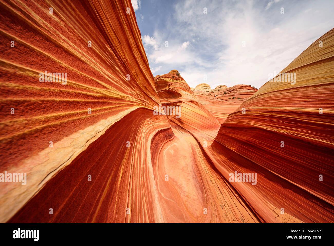 The Wave, Coyote Buttes North, Paria Canyon-Vermillion Cliffs Wilderness, Colorado Plateau, Arizona, USA Stock Photo