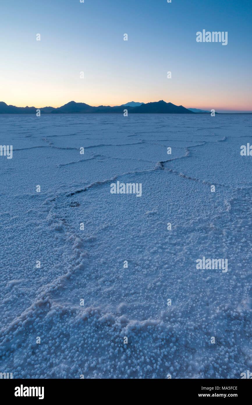 Dusk at Bonneville Salt Flats, Wendover, Salt Lake City, Utah, Usa Stock Photo