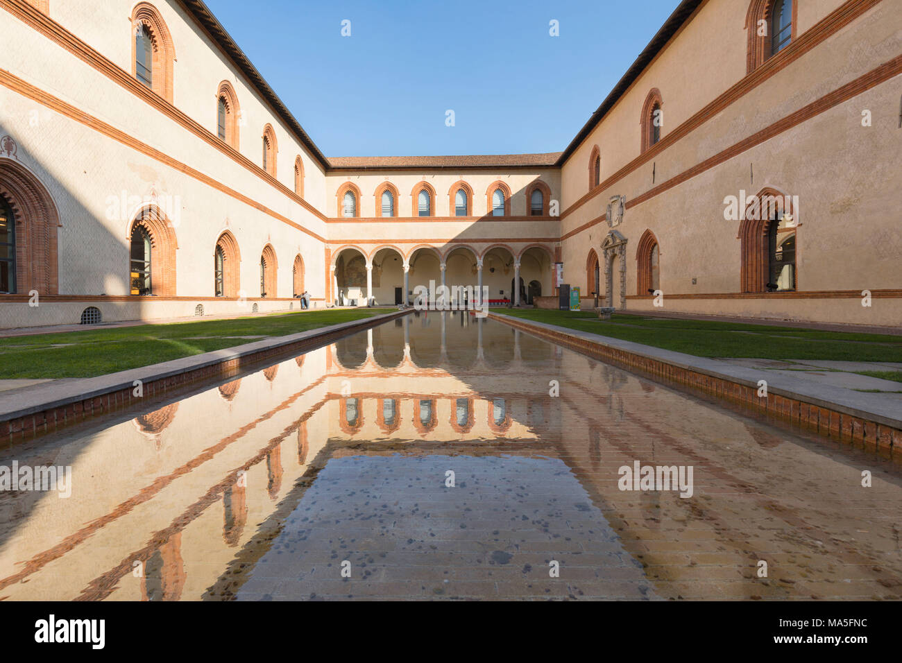 a detail of the Corde Ducale, a inner built of the Sforza Castle, Milan province, Lombardy, Italy - Stock Image