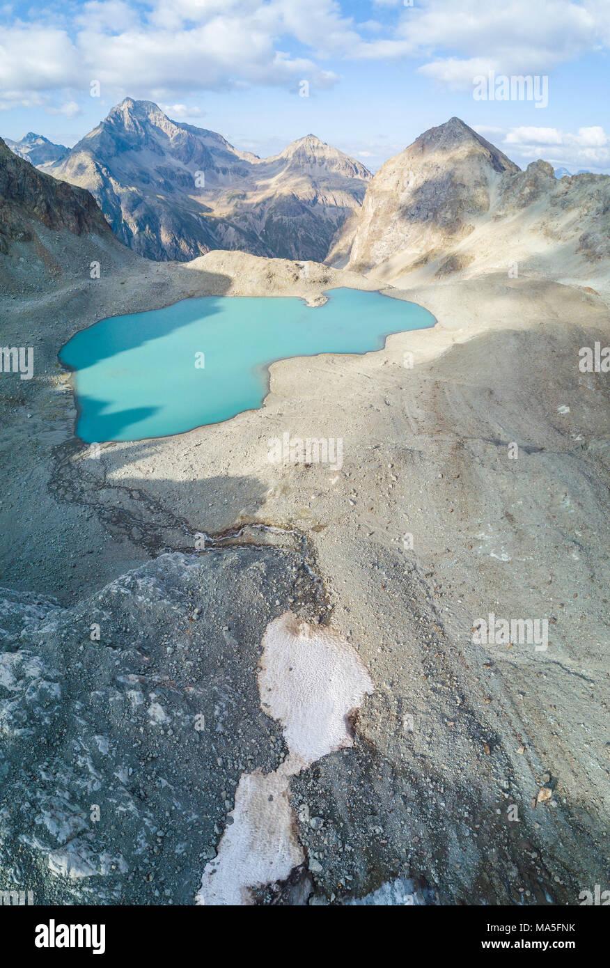 Panoramic of Lej Lagrev seen from drone, Silvaplana, canton of Graubünden, Engadine, Switzerland - Stock Image