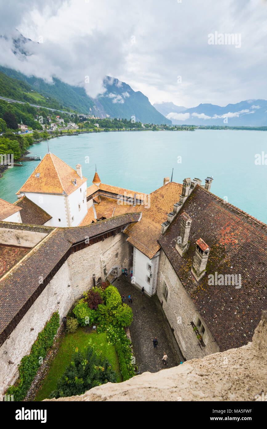 Leman lake viewed from the tower of Chillon castle, Canton of Vaud, Switzerland, Swiss alps - Stock Image