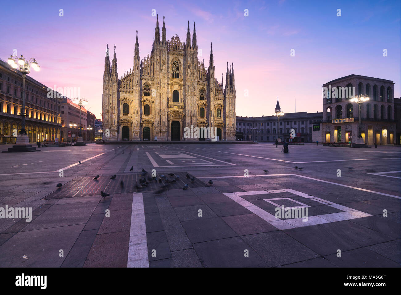 View of the square and the gothic Duomo, the icon of Milan, Lombardy, Italy, Europe. Stock Photo