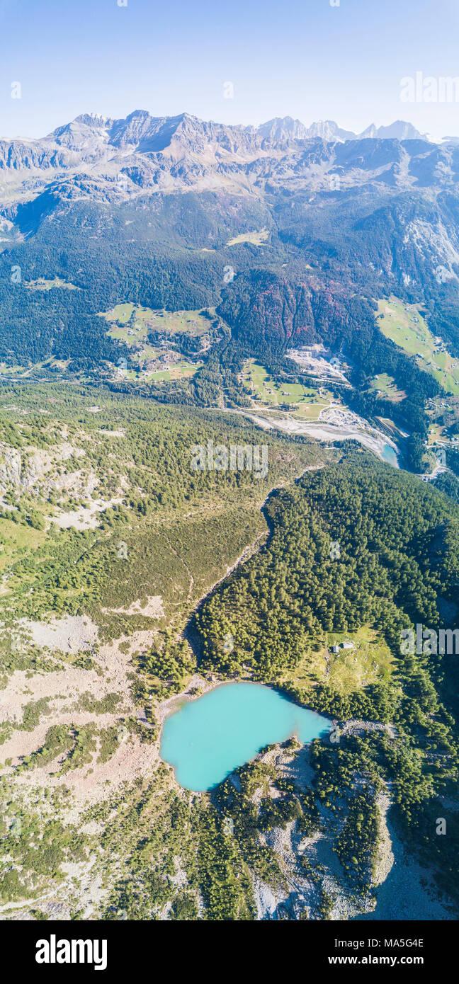 Panoramic of Lago Lagazzuolo from drone, Chiesa In Valmalenco, Province of Sondrio, Valtellina, Lombardy, Italy - Stock Image