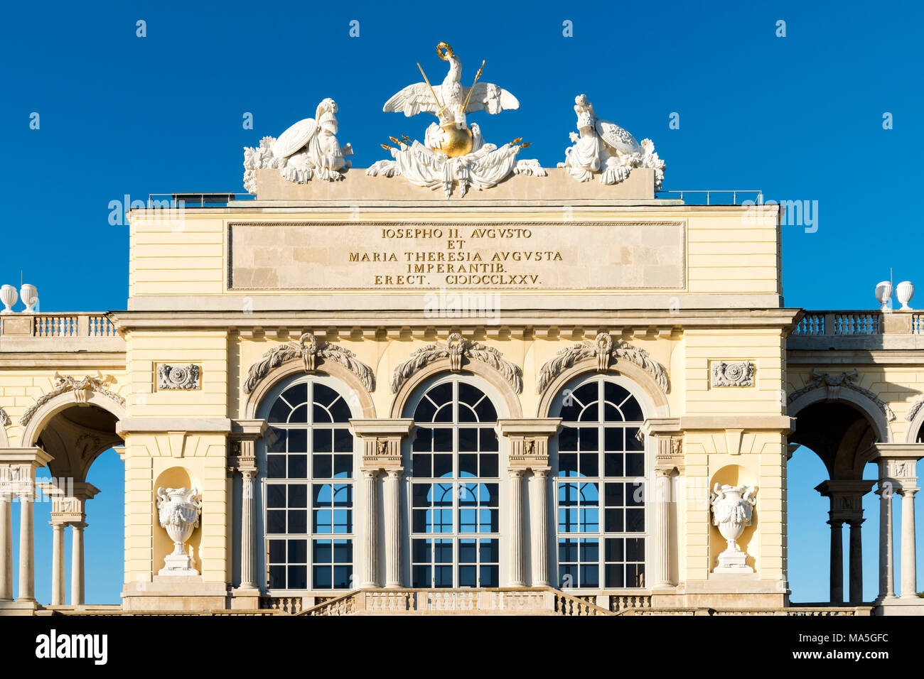 Vienna, Austria, Europe. The Gloriette in the gardens of Schönbrunn Palace - Stock Image
