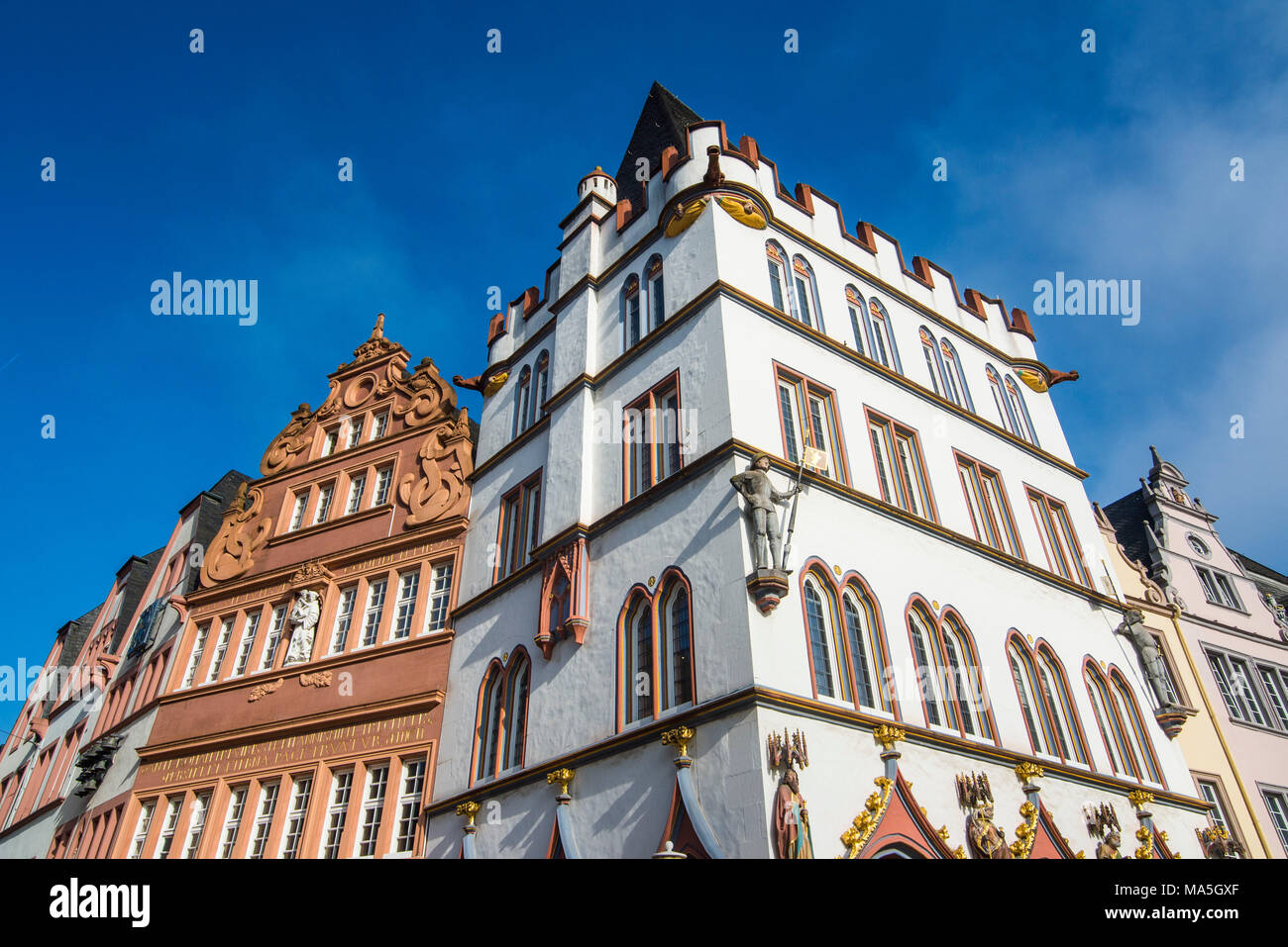 Main market in the center of the medieval Unesco world heritage sight, Trier, Moselle valley, Rhineland-Palatinate, Germany Stock Photo