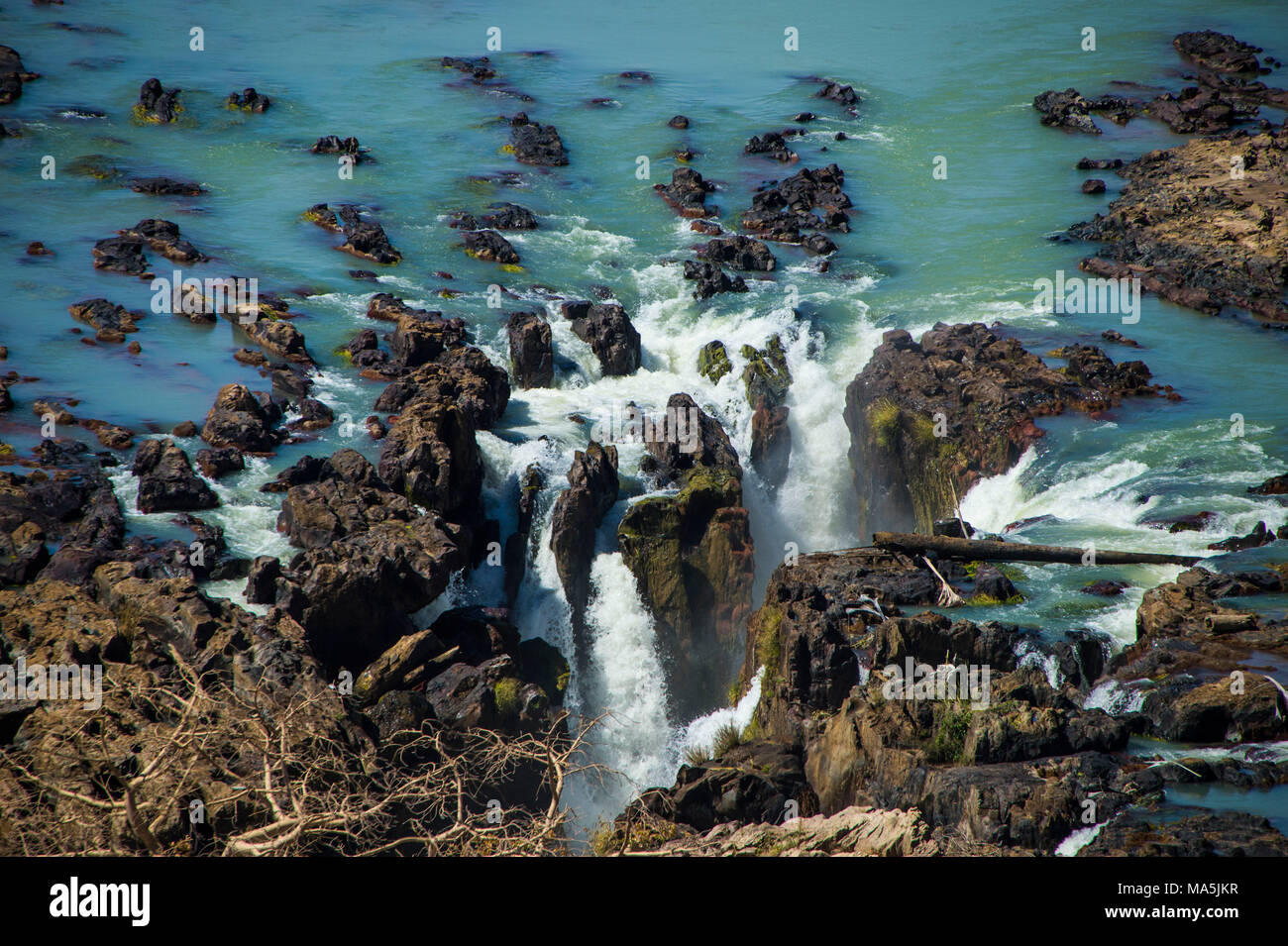 Epupa Falls on the Kunene River on the border between Angola and Namibia, Namibia Stock Photo