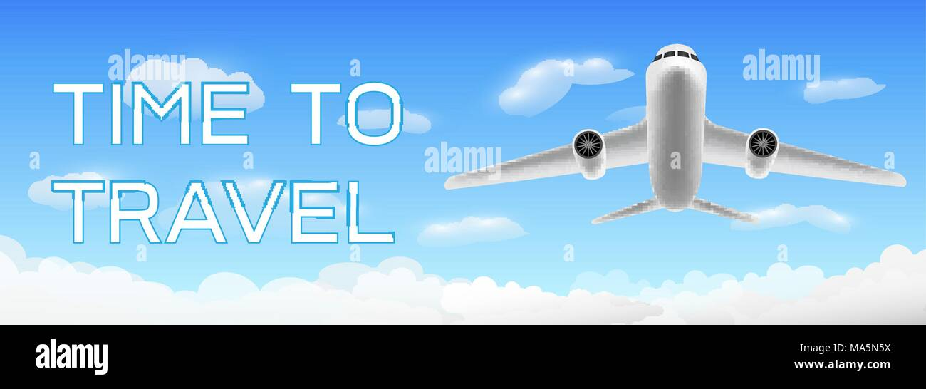 A time to travel with airplane flying over cloud - Stock Vector