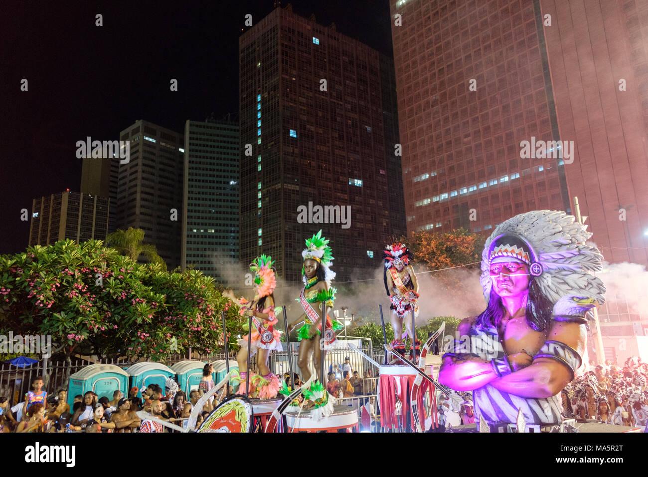 Cacique de Ramos street troupe, Rio carnival 2018, Brazil - Stock Image