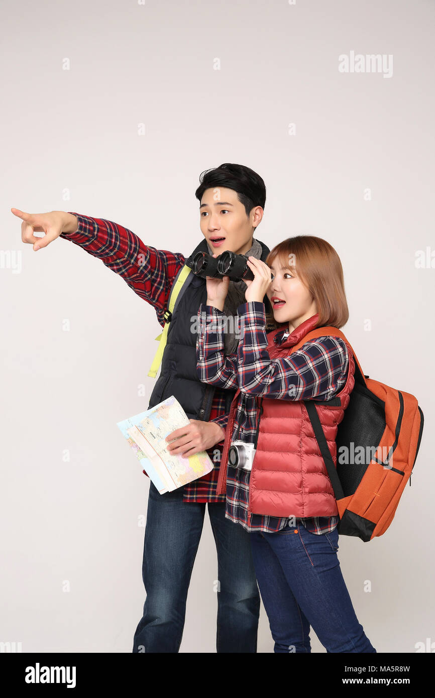 Happy young traveler couple concept photo  set out on a trip to