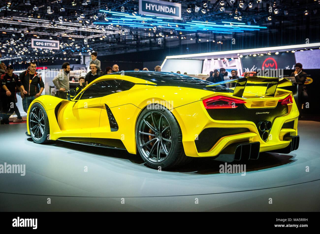 GENEVA, SWITZERLAND - MARCH 17, 2018: Hennessey Venom F5 Superfast sports car presented at the 88th Geneva International Motor Show. Stock Photo