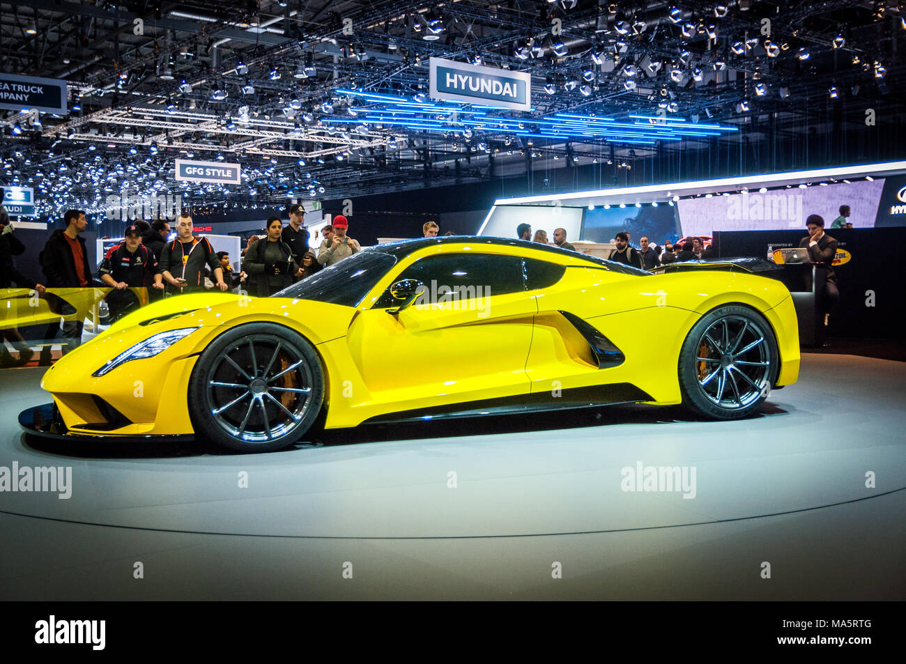 GENEVA, SWITZERLAND - MARCH 17, 2018: Hennessey Venom F5 Superfast sports car presented at the 88th Geneva International Motor Show. - Stock Image
