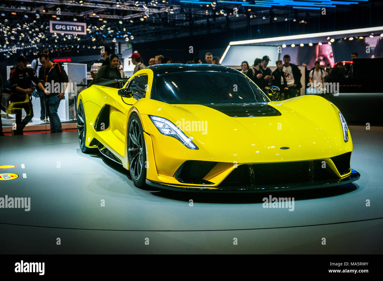 GENEVA, SWITZERLAND - MARCH 17, 2018: Hennessey Venom F5 Superfast sports car presented at the 88th Geneva International Motor Show. Stock Photo