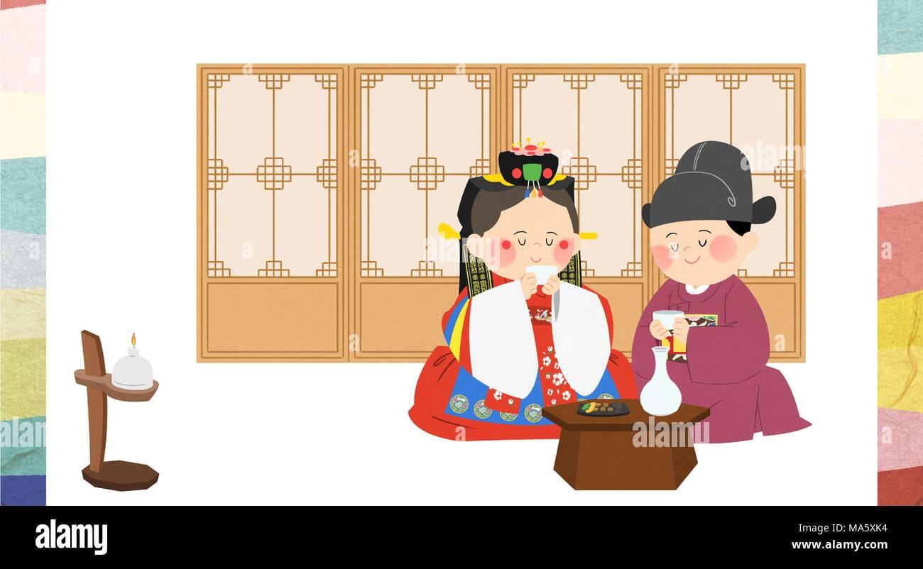 Vector illustration - The traditional Korean wedding 010 - Stock Vector